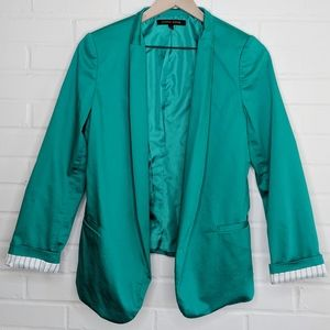 Cynthia Steffe Teal Open Front Blazer Teal Lined